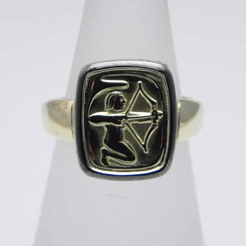 Ring mit Sternzeichen aus 750/000 Gelb- und Weissgold