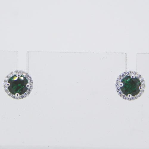 Ohrstecker mit Smaragd und Brillanten aus Weissgold