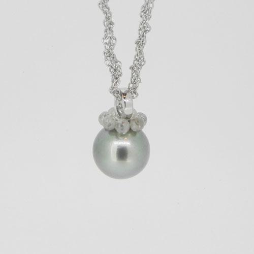 Collier mit Tahitiperle und Diamant-Briolette