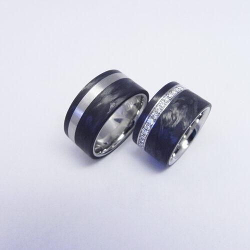 Trauringe aus Palladium mit Carbon. Damenring mit Brillanten, total 0.55 ct H-si, Trauringe wurden von meinen Kunden selbst angefertigt.