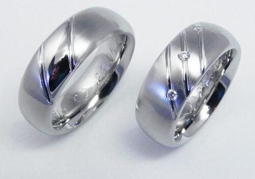 Trauringe aus Edelstahl, Damenring mit 3 Brillanten à 0.02 ct H-si Trauringe wurden von meinen Kunden selbst angefertigt.